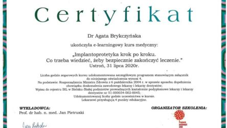 Certyfikat-Agata Brykczyńska-Implantoprotetyka 1