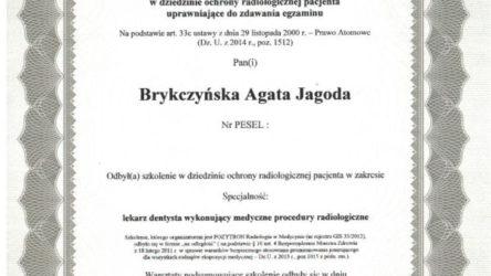 Certyfikat-Agata Brykczyńska-Radiologia