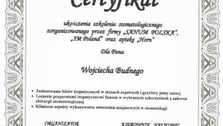 Ceryfikat Wojciech Budny